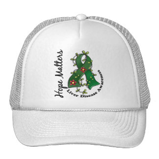 Flower Ribbon 4 Hope Matters Liver Disease Mesh Hats
