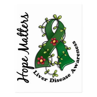 Flower Ribbon 4 Hope Matters Liver Disease Postcard