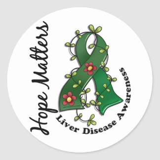 Flower Ribbon 4 Hope Matters Liver Disease Stickers