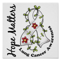 Flower Ribbon 4 Hope Matters Lung Cancer Poster