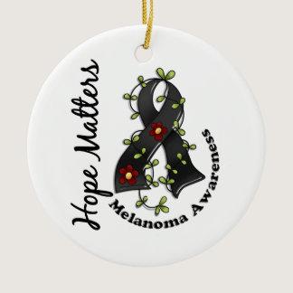 Flower Ribbon 4 Hope Matters Melanoma Ceramic Ornament