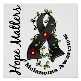 Flower Ribbon 4 Hope Matters Melanoma Poster