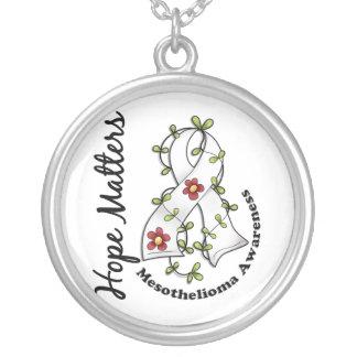 Flower Ribbon 4 Hope Matters Mesothelioma Round Pendant Necklace