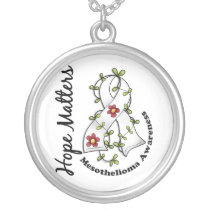 Flower Ribbon 4 Hope Matters Mesothelioma Silver Plated Necklace