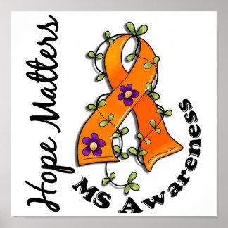 Flower Ribbon 4 Hope Matters MS Poster