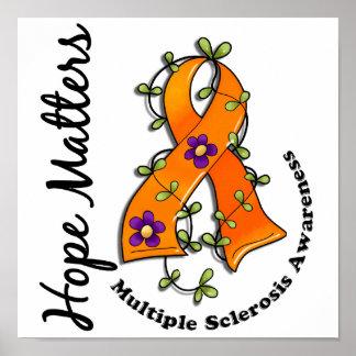 Flower Ribbon 4 Hope Matters Multiple Sclerosis Poster