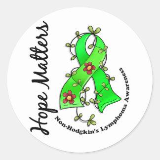 Flower Ribbon 4 Hope Matters Non-Hodgkin's Lymphom Classic Round Sticker