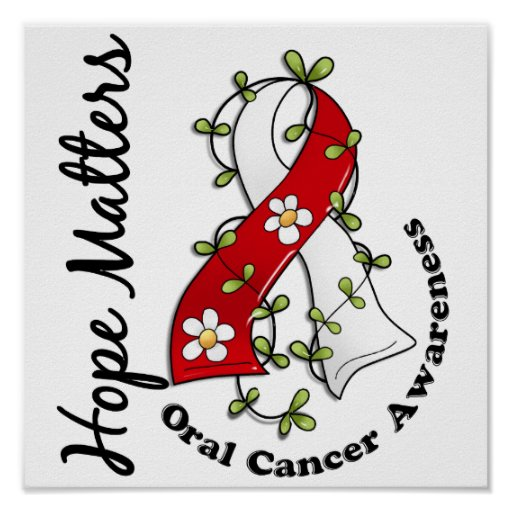 Flower Ribbon 4 Hope Matters Oral Cancer Print