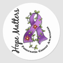 Flower Ribbon 4 Hope Matters Pancreatic Cancer Classic Round Sticker