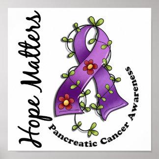 Flower Ribbon 4 Hope Matters Pancreatic Cancer Poster