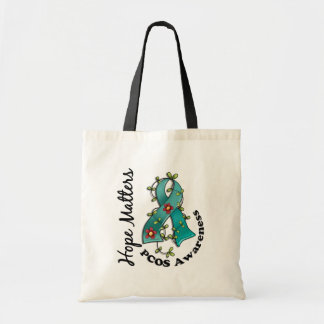 Flower Ribbon 4 Hope Matters PCOS Budget Tote Bag