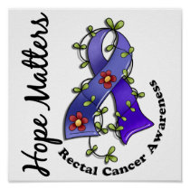 Flower Ribbon 4 Hope Matters Rectal Cancer Poster