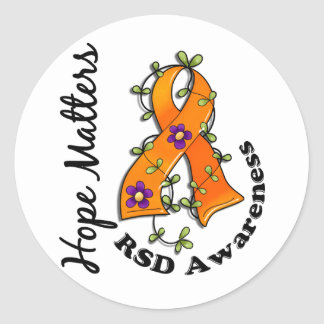 Flower Ribbon 4 Hope Matters RSD Round Stickers