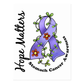 Flower Ribbon 4 Hope Matters Stomach Cancer Postcard