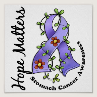 Flower Ribbon 4 Hope Matters Stomach Cancer Poster