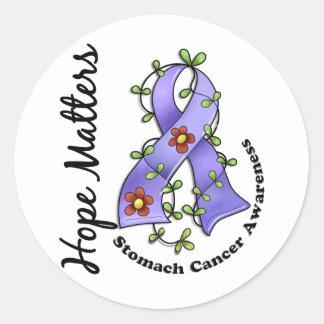 Flower Ribbon 4 Hope Matters Stomach Cancer Round Sticker