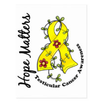 Flower Ribbon 4 Hope Matters Testicular Cancer Postcard