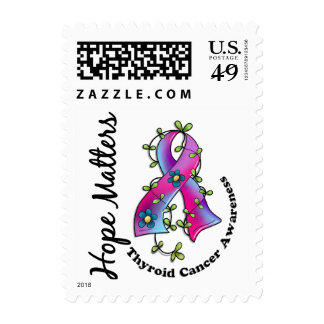 Flower Ribbon 4 Hope Matters Thyroid Cancer Stamps