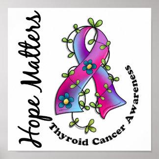 Flower Ribbon 4 Hope Matters Thyroid Cancer Poster