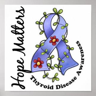 Flower Ribbon 4 Hope Matters Thyroid Disease Print