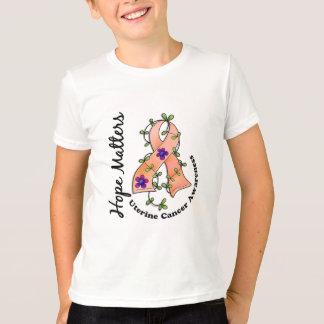 Flower Ribbon 4 Hope Matters Uterine Cancer T-Shirt