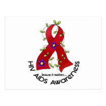 Flower Ribbon AIDS HIV AWARENESS T-Shirts & Gifts Postcard
