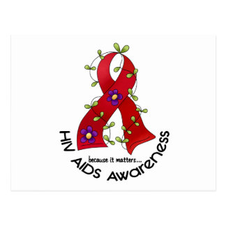 Flower Ribbon AIDS HIV AWARENESS T-Shirts & Gifts Postcard