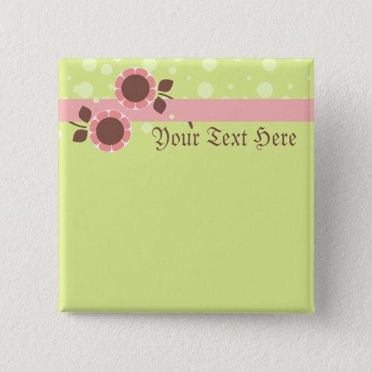 Flower Ribbon Baby Shower Gift Button