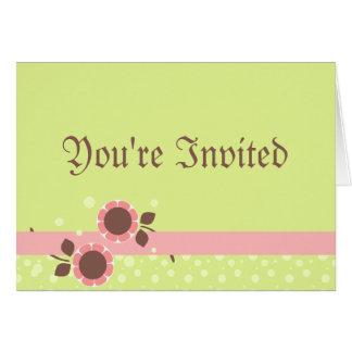 Flower Ribbon Baby Shower Invitation