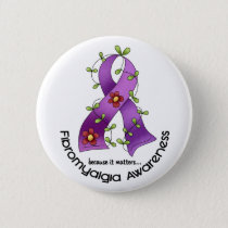 Flower Ribbon FIBROMYALGIA AWARENESS T-Shirts Pinback Button