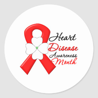 Flower Ribbon - Heart Disease Awareness Month Classic Round Sticker