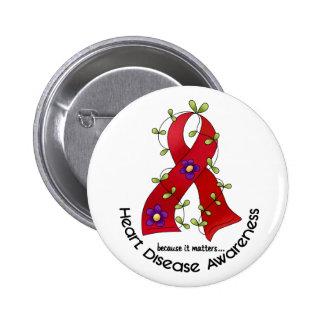 Flower Ribbon HEART DISEASE AWARENESS T-Shirts Button
