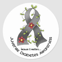 Flower Ribbon JUVENILE DIABETES AWARENESS T-Shirts Classic Round Sticker