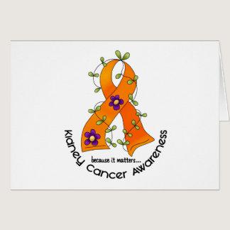 Flower Ribbon KIDNEY CANCER (with Orange Ribbon) Card