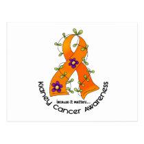 Flower Ribbon KIDNEY CANCER (with Orange Ribbon) Postcard