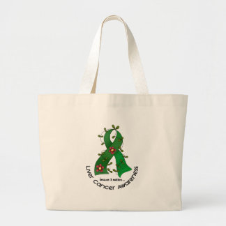Flower Ribbon LIVER CANCER (EMERALD GREEN Ribbon) Large Tote Bag