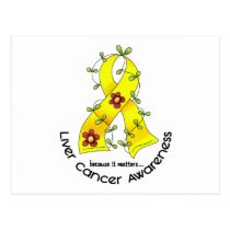 Flower Ribbon LIVER CANCER (YELLOW Ribbon) Postcard