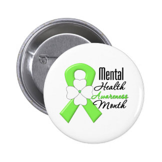 Flower Ribbon - Mental Health Awareness Month 2 Inch Round Button