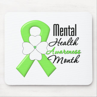 Flower Ribbon - Mental Health Awareness Month Mouse Pads