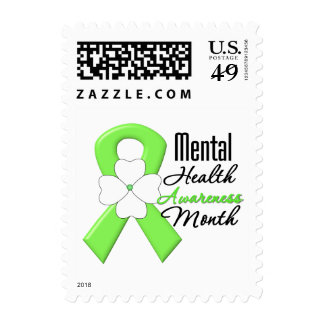 Flower Ribbon - Mental Health Awareness Month Postage Stamps