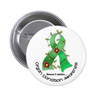 Flower Ribbon ORGAN DONATION AWARENESS Apparel 2 Inch Round Button
