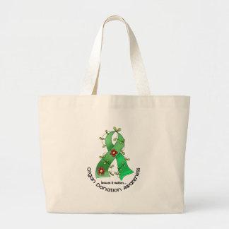 Flower Ribbon ORGAN DONATION AWARENESS Apparel Tote Bags