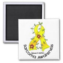Flower Ribbon SARCOMA AWARENESS T-Shirts & Gifts Magnet