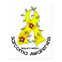 Flower Ribbon SARCOMA AWARENESS T-Shirts & Gifts Postcard