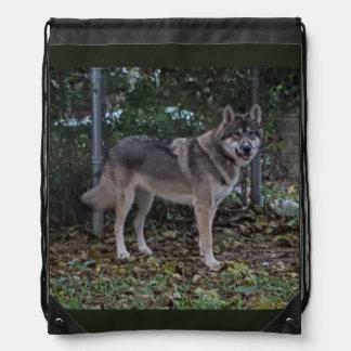 Flower Running Wolf Drawstring Bag