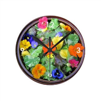 Flower Salad Bowl Wall Clock