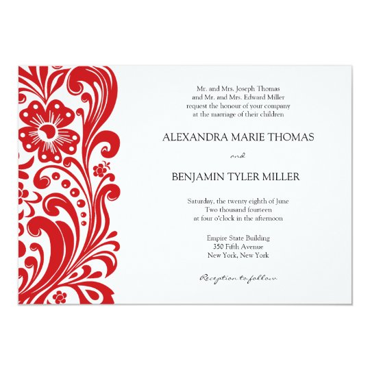 Flower Scroll Wedding Invitation