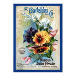Flower Seed Packs Vintage Art 5x7 Paper Invitation Card