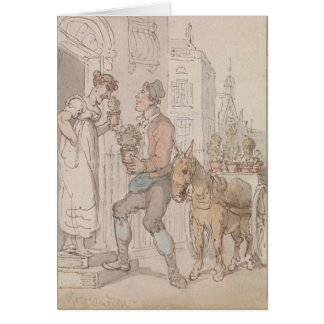 Flower Seller and Donkey Cart Greeting Card