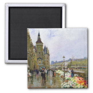Flower Sellers by the Seine Magnet